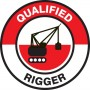 "Qualified Rigger Hard Hat Sticker, 2-1/4"", 10/Pk"