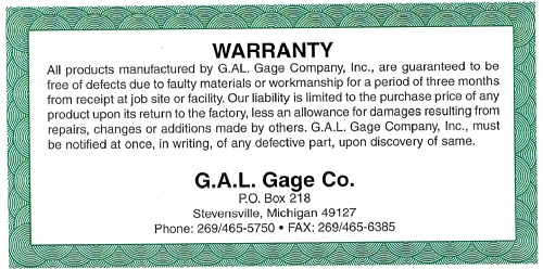 GAL Warranty Card
